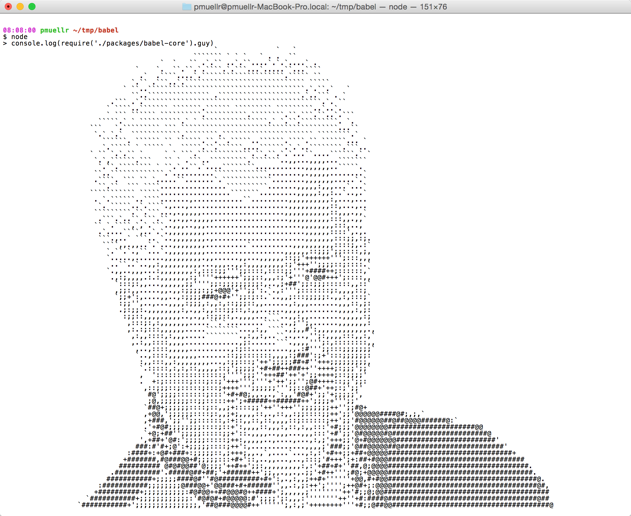 Ascii art of Guy Fieri in babel
